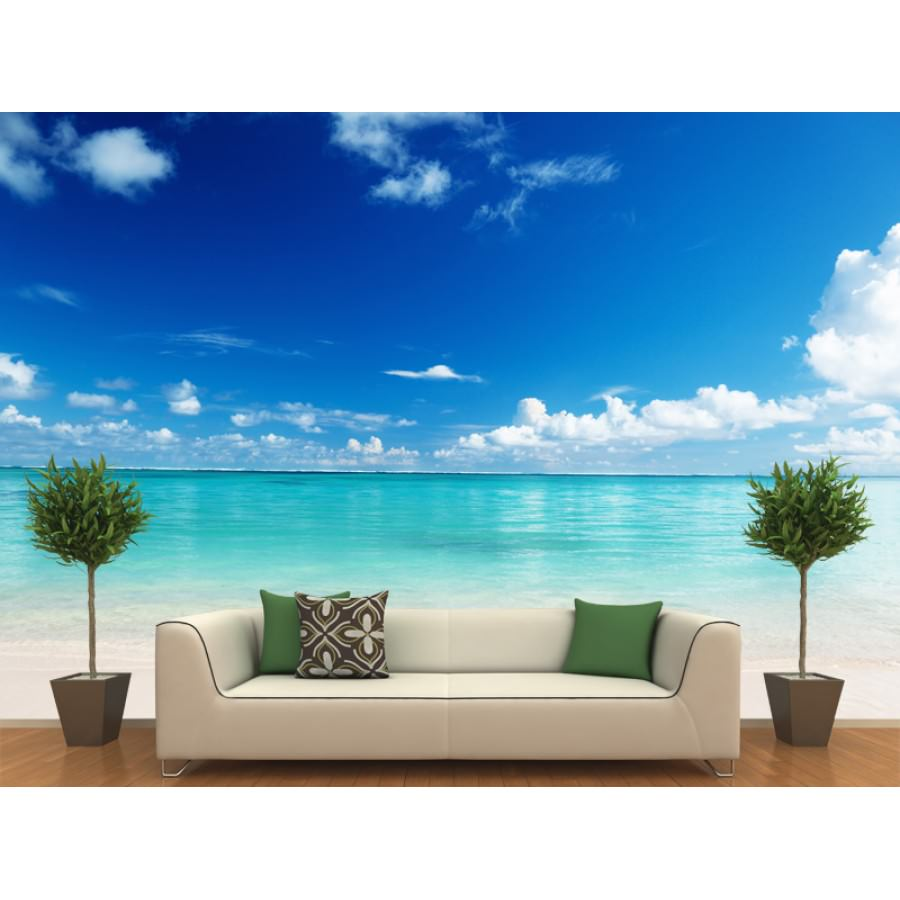 28 wall mural decals beach beach wall murals window for Beach themed mural