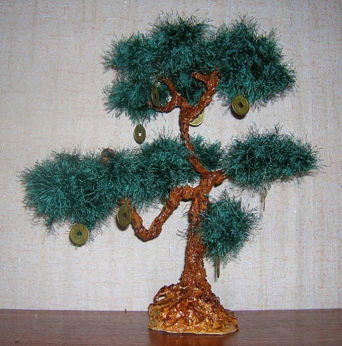 Деревья из ниток своими руками 11